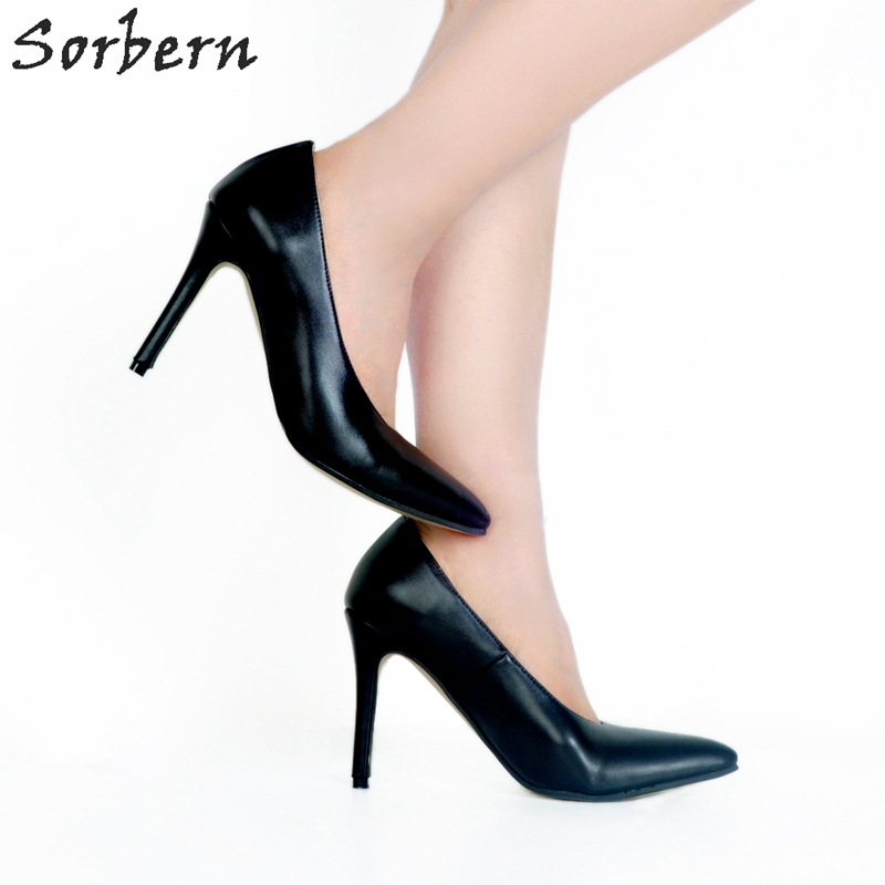 Sorbern Mature Black Women Pump High Heels Pointed Toe Ol Dress Shoes Pumps Women Shoes High Heels Pumps Stilettos Heeled orange pointed toe pump women shoes sexy slip on women pumps real image thin high heels ol pump shoes large size 8 heels
