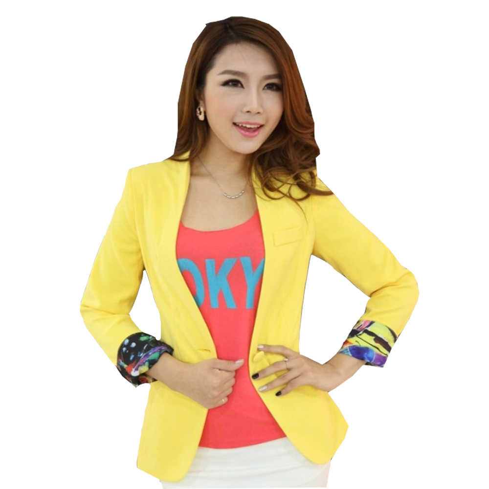 f679f98268d ... 2019 Spring Autumn Long sleeve Shrug Women Blazer Candy Color ladies  blazer jacket Suit Jackets women ...