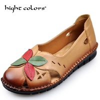 New Women Genuine Leather Flowers Shoes Mother Loafers Soft Comfort Leisure Flats Hand Stitched Women S