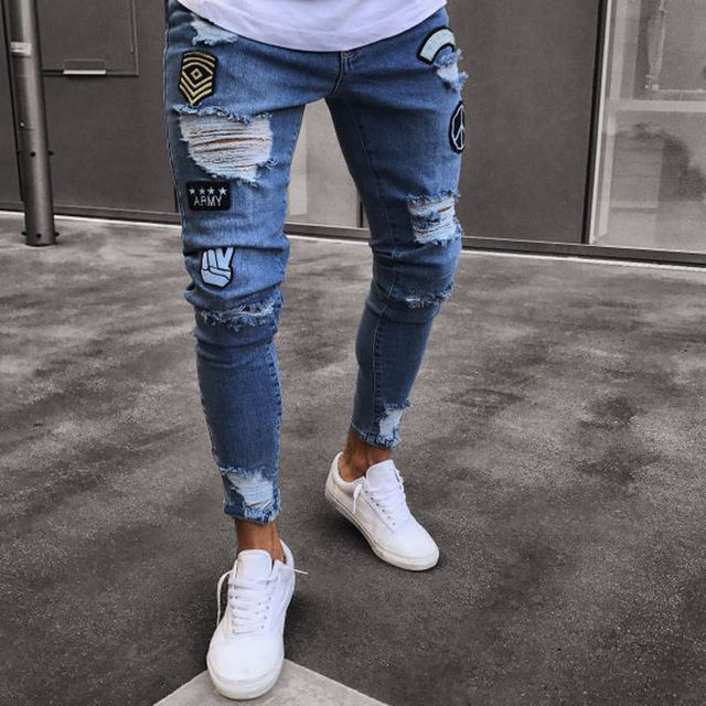 Hole Embroidered Jean