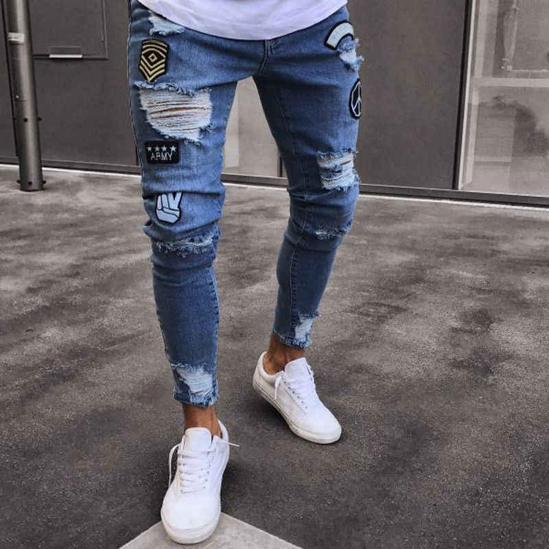 Agujero bordado vaqueros Slim de los hombres pantalones de nuevo 2019  casuales de los hombres de fb906e51914