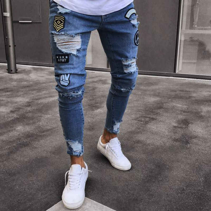 223cb801 hole embroidered jeans Slim men trousers NEW 2019 men's Casual Thin Summer Denim  Pants Classic Cowboys