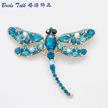 Fashion Blue Dragonfly Rhinestone Pin Austrian Crystal Insect Brooches for Women Dress 5684