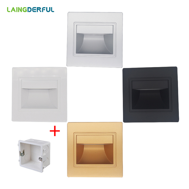 LAINGDERFUL 0.6-2.5W Wall Lamp AC85-265V Led Stair Lighting Special Offer 86 Footlights Mounting Box Cool/warm White
