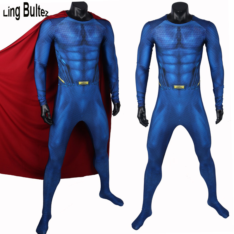 Ling Bultez High Quality No Logo Muscle Shade Superman Costume New Superman Cosplay Costume With Cape