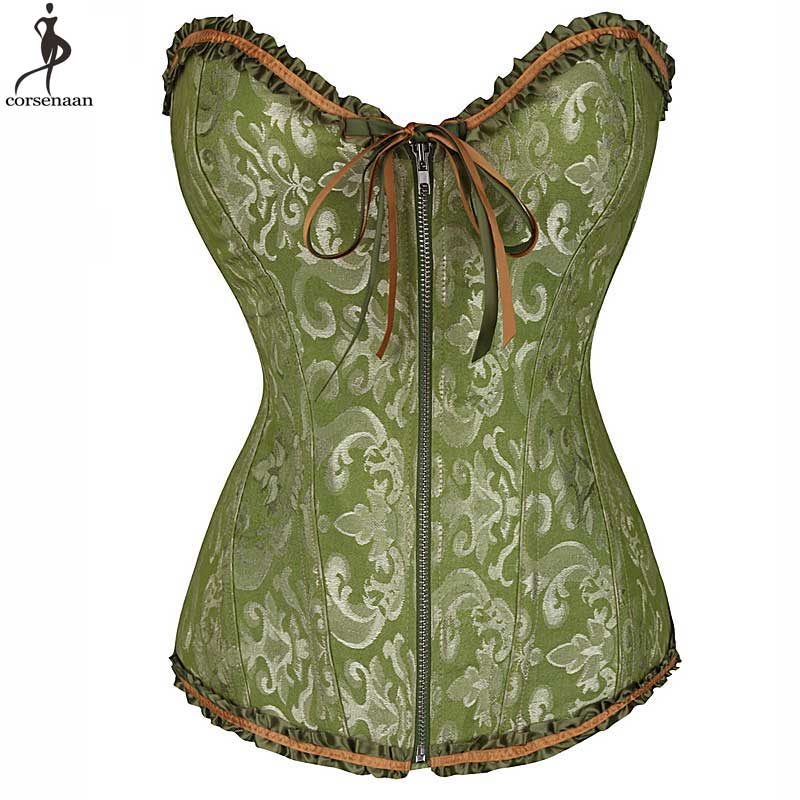Zipper Corset Jacquard Floral Corsets Sexy Overbust Boned Bustier Gothic Korsett For Women Lace Up Gorset Mujer Plus Size Korset