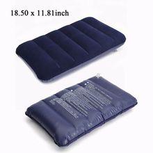 พับหมอนท่องเที่ยวกลางแจ้ง SLEEP หมอน Air Inflatable Cushion FR Break REST Inflatable แบบพกพา Break REST หมอนสีฟ้า