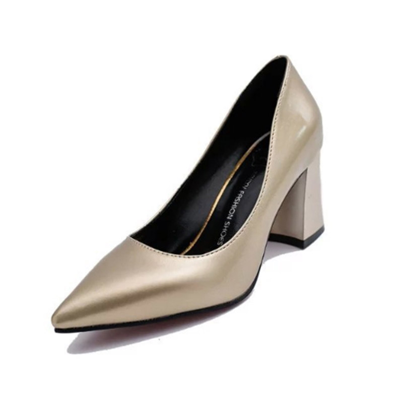 2018 Summer Hot Sale Work Women Shallow Mouth Patent Leather Single High Heels Shoes Pointed Toe Thick Square Heels Size 34-39