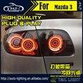 Estilo do carro Lâmpada de Cauda para Mazda 3 Luzes Traseiras 2004-2012 Mazda3 LEVOU Luz Da Cauda Sinal de Volta DRL + freio + Reverter auto Acessórios