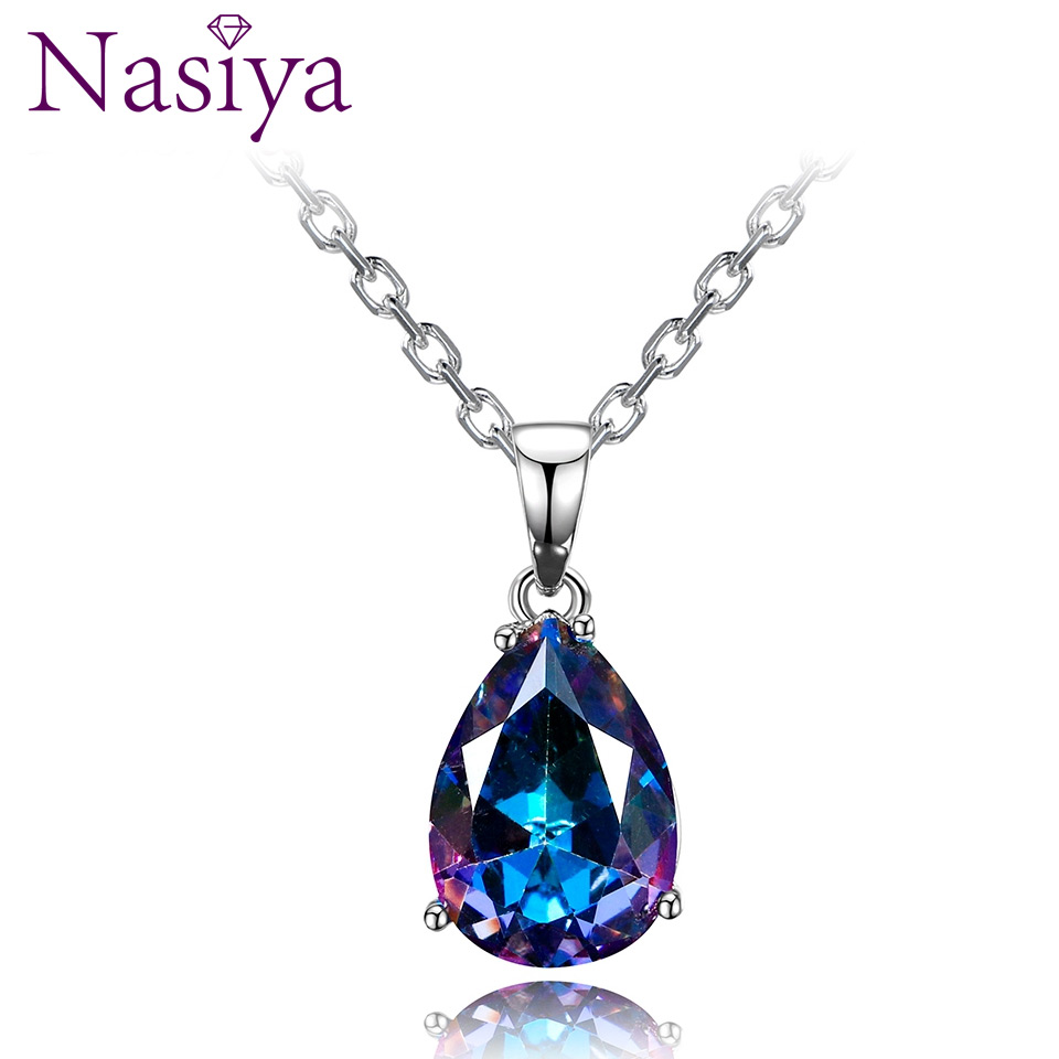 Fashion Women's Necklaces Pendants 925 Silver Jewelry Color Water Drop Gemstone Pendant Necklace Party Wedding Gift Fine Jewelry