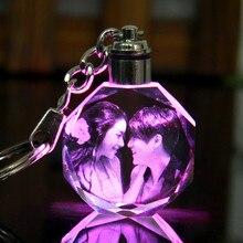 DIY Couples Family Souvenir Gift Laser Carve Crystal Key Chain Photo  Colorful LED Light Keychain sleutelhanger a65cbd2b0c94