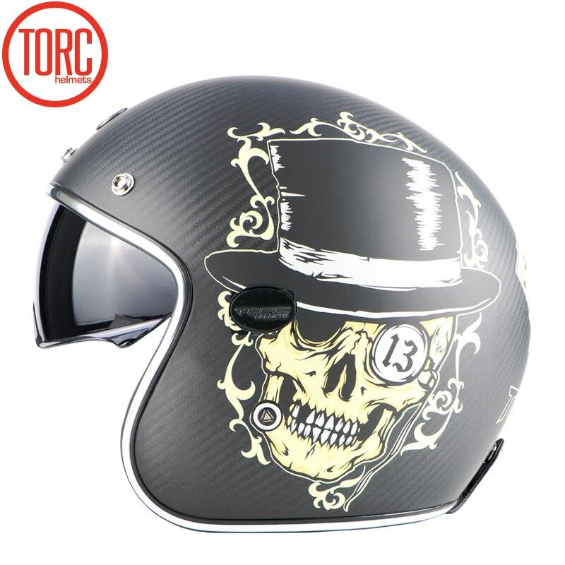 NOUVEAU TORQUE carbonfiber casque Moto Motocross racing casque Moto Jet Vintage casque Open face rétro 3/4 casque V587 ECE