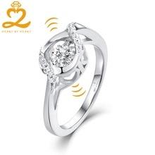 Сердце, сердце Танцы камень топаз кольцо ярмарка Обручение Свадебные Красивые ювелирные изделия белого золота кольцо подарок для Для женщин оптовая продажа ювелирных изделий