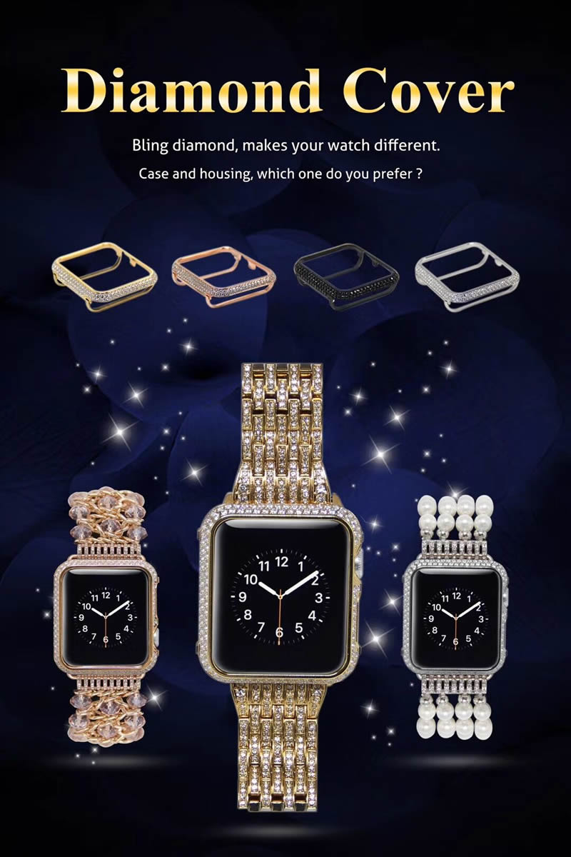 For Apple watch case Protective Shell Hand Made by Crystal Diamond Cover Style (1)
