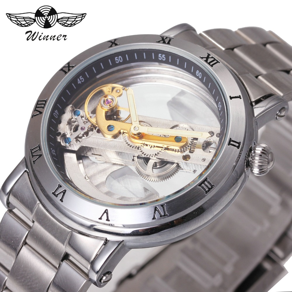 WINNER Business Golden Bridge Men Automatic Mechanical Watch Full Silver Stainless Steel Strap Roman Number Design Wristwatch winner men mechanical watch skeleton dial watches luxury golden bridge full steel minimum design male business wristwatch