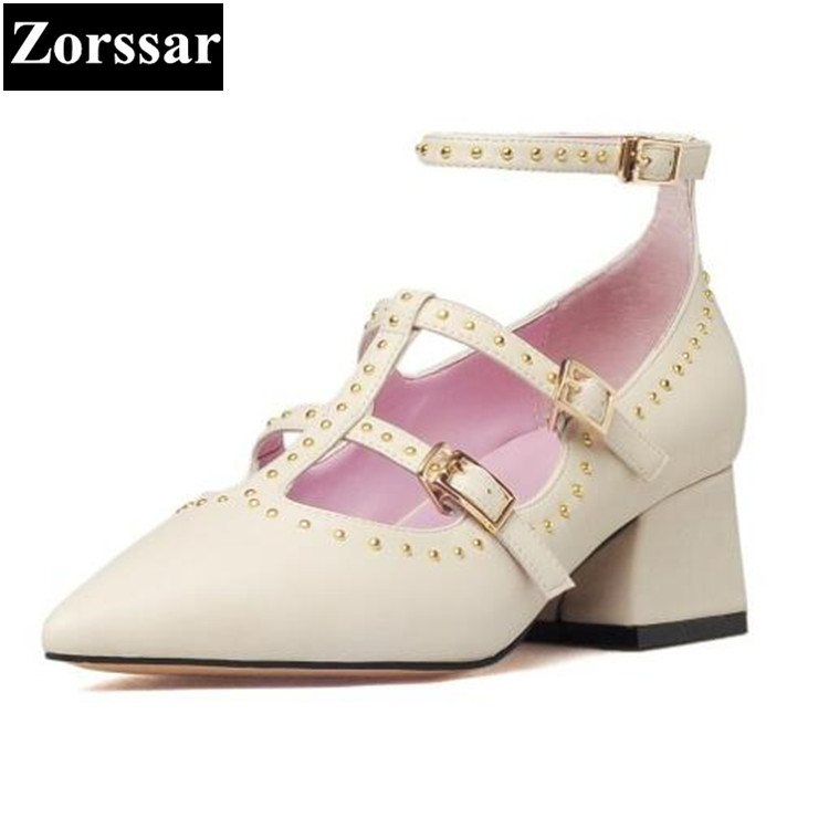 {Zorssar} Ladies Shoes pointed toe High Heels women pumps Fashion rivets Roman style Genuine Leather sexy lady med heel shoes memunia flock pointed toe ladies summer high heels shoes fashion buckle color mixing women pumps elegant lady prom shoes