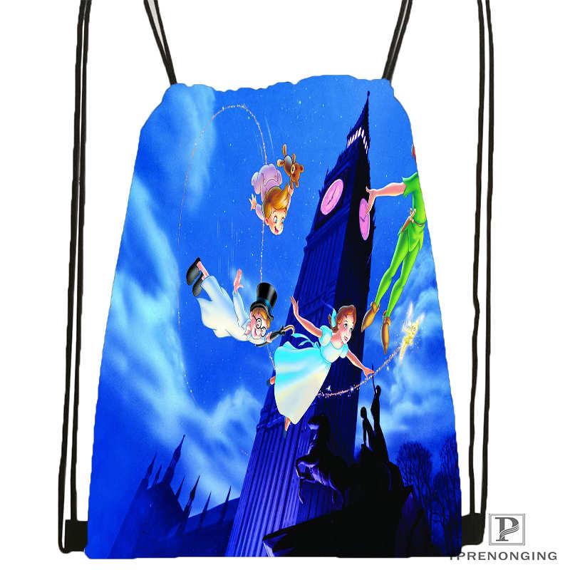 Custom Peter-Pan-Movie-Drawstring Backpack Bag For Man Woman Cute Daypack Kids Satchel (Black Back) 31x40cm#20180611-03-156