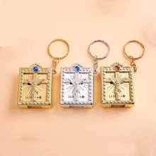 50pcs Spanish Real Mini Holy Bible Keychain, Catholicism Christian Jesus Cross Keychain,First Communion Religion Party Holy gift