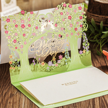 Design 3D Type Laser Cut Green Apple Tree Elegant Wedding Invitations Kit Blank Paper Inside Printing Invitation Cards Set
