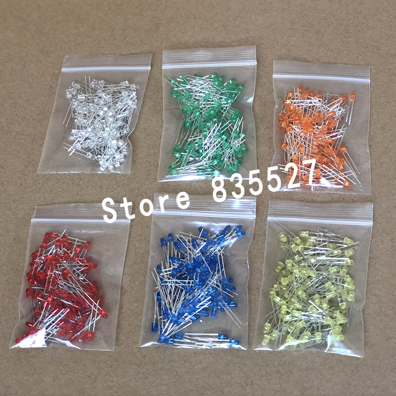 600pcs/lot 3MM In The Color Kit Mixed 6 Color : White / Green / Orange / Red / Blue / Yellow  LED Light Emitting Diode DIP F3