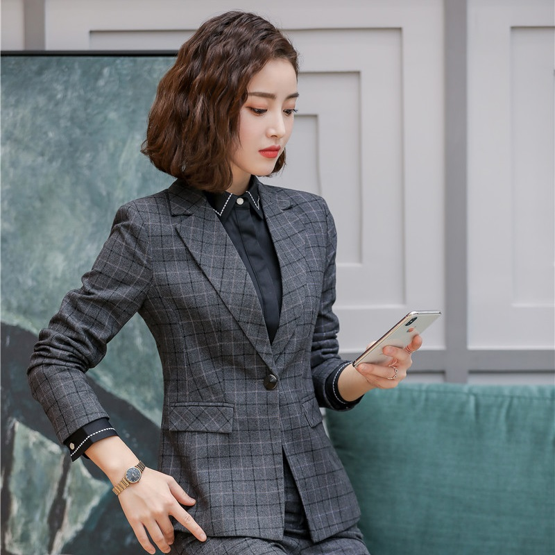 High Quality Fabric Formal Blazers And Jackets Coat Fashion Plaid OL Styles Blazers Ladies Business Outwear Tops Clothes