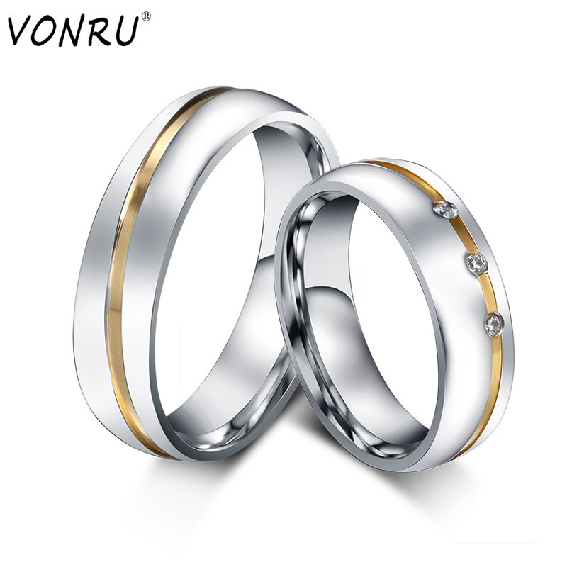 Couple Rings Romantic Engagement Party Stainless-Steel Wedding Silver-Color Elegant Lovers