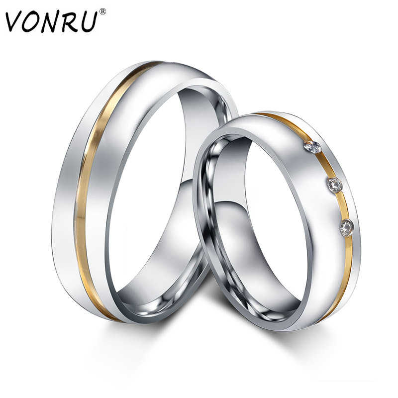 6MM Stainless Steel Couple Rings Silver Color Wedding Crystal Ring For Lovers Romantic Elegant Engagement Party Jewelry