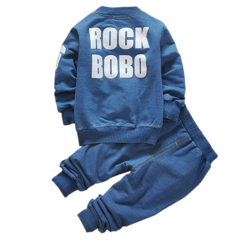 Baby Boys Denim Suit Jeans Shirt Outfits Long Sleeve Clothing Sets Toddler Kids Autumn Casual Clothes