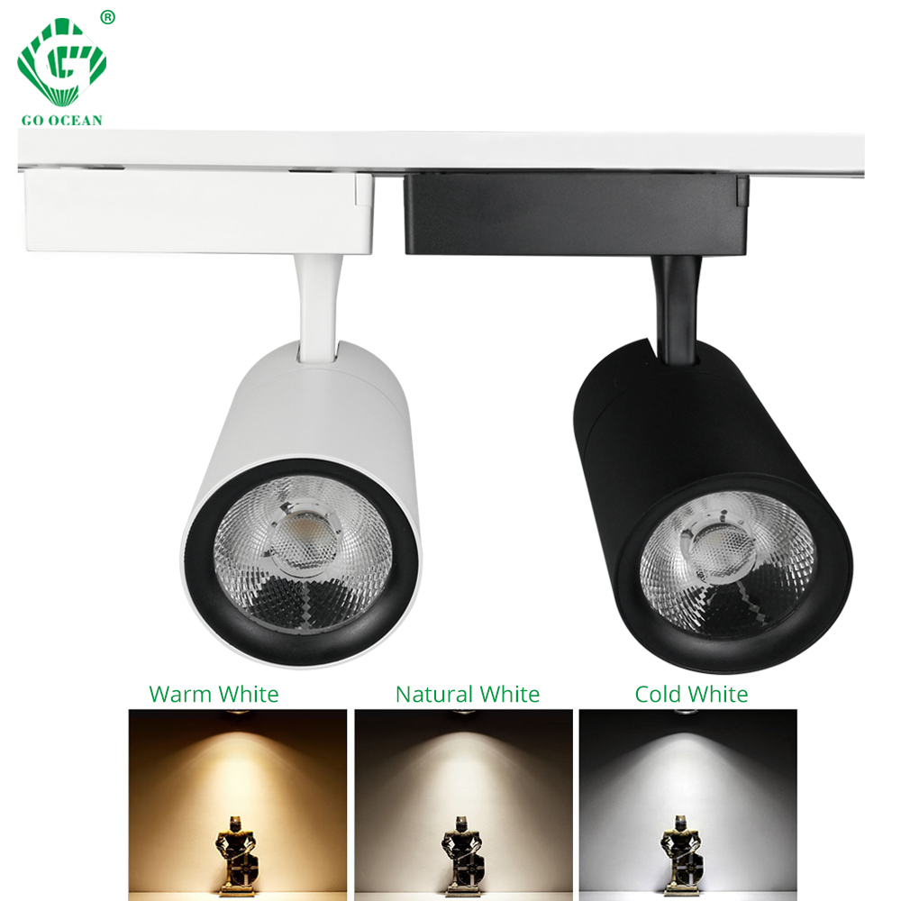 1pcs 10w 20w 30w Led Track Light Cob Rail Spotlights Lamp Leds Tracking Fixture Light Bulb For Store Shop Mall Bar Exhibition Ceiling Lights & Fans