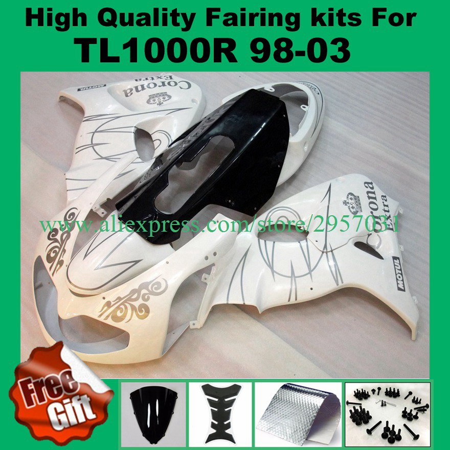 Fairing Kit For Suzuki Tl1000r 1998 1999 2000 2001 2002 2003 Tl1000 R 98-03 Fairings Set White Black Excellent In Cushion Effect Frames & Fittings Obedient Get 9gifts