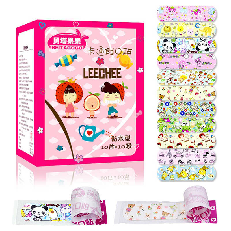 100Pcs Children Dreathable Waterproof Wound Patch Cartoon Waterproof Bandage Band-Aid Hemostatic Adhesive For Kids Baby things