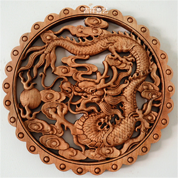 Woodcarving Pendant Wall Decoration Camphor Wood Round Carving Crafts 28 Cm