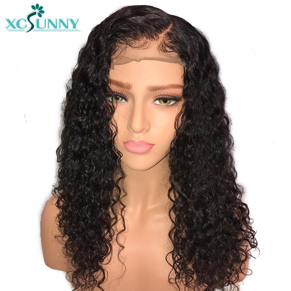 Xcsunny Crépus Bouclés Dentelle Humain Avant Perruques Sans Colle Avec Des Cheveux de Bébé Pré Pincées Remy Indien Cheveux Noirs Pour Les Femmes Facile retours