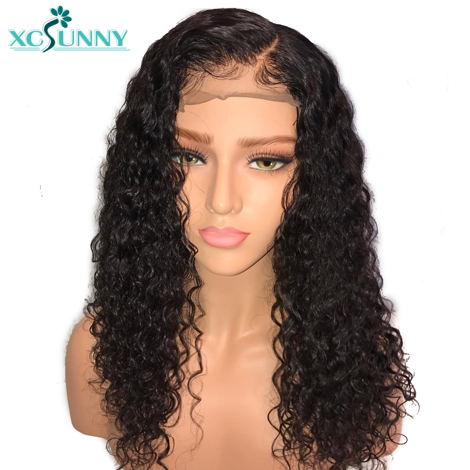 xcsunny Kinky Curly Human Lace Front Wigs Glueless With Baby Hair Pre Plucked Remy Indian Black Hair For Women Easy Returns