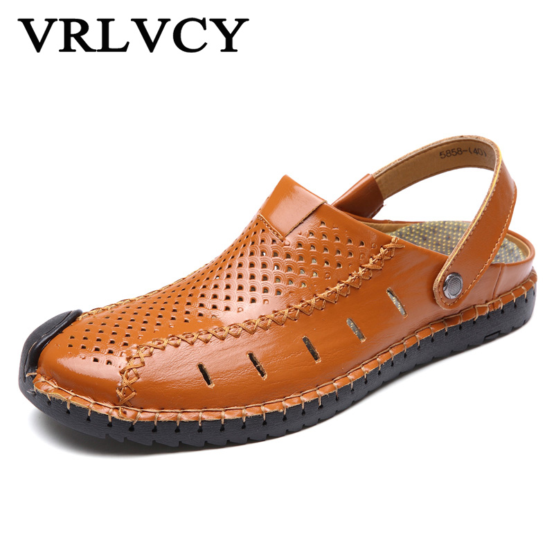 Summer Mens New Leather Sandals, Beach Breathable Casual, Word Drag Shoes, Two Wearing Light Mens Shoes