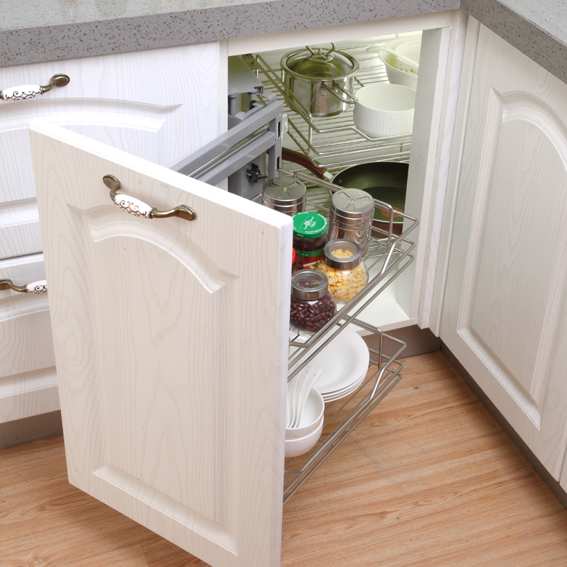 Kitchen Cabinet Corner Corner Linkage Pull Basket Small Monster Corner Pull Basket Cabinet Rack Upgrade Model Double Row Track
