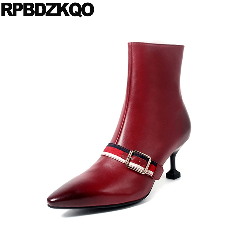 Stiletto 2017 Booties Genuine Leather Ankle Luxury Brand Shoes Women Autumn Short Wine Red Boots Strange High Heel Metal Pointed yanicuding round toe women flock ankle booties metal short boots zip design luxury brand fashion runway star autumn shoes flats