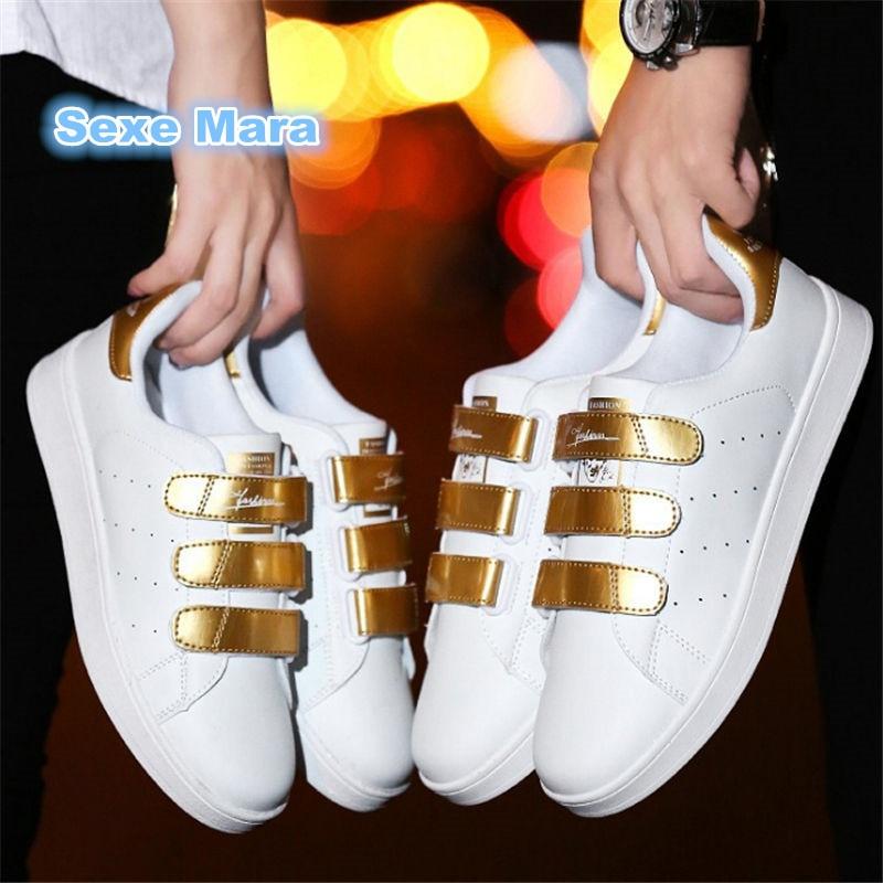 Las mujeres zapatos de mujer de cuero zapatos Planos ocasionales Amantes de Los pares de blanco Unisex salvajes zapatos superestrella entrenador zapatos mujer zapatos hombre
