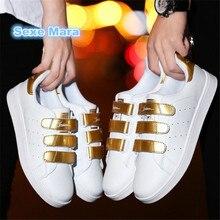 Женщины Плоские повседневная обувь пару Любителей белые туфли женщина кожа Мужская дикие обувь суперзвезда тренер zapatos mujer zapatos hombre