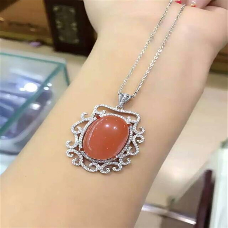 KJJEAXCMY boutique jewels 925 sterling silver inlaid with natural south red agate ladies long pendant oval shaped natural white crystal beaded with s925 silver inlaid blue accessories pearl red agate pendant bracelet