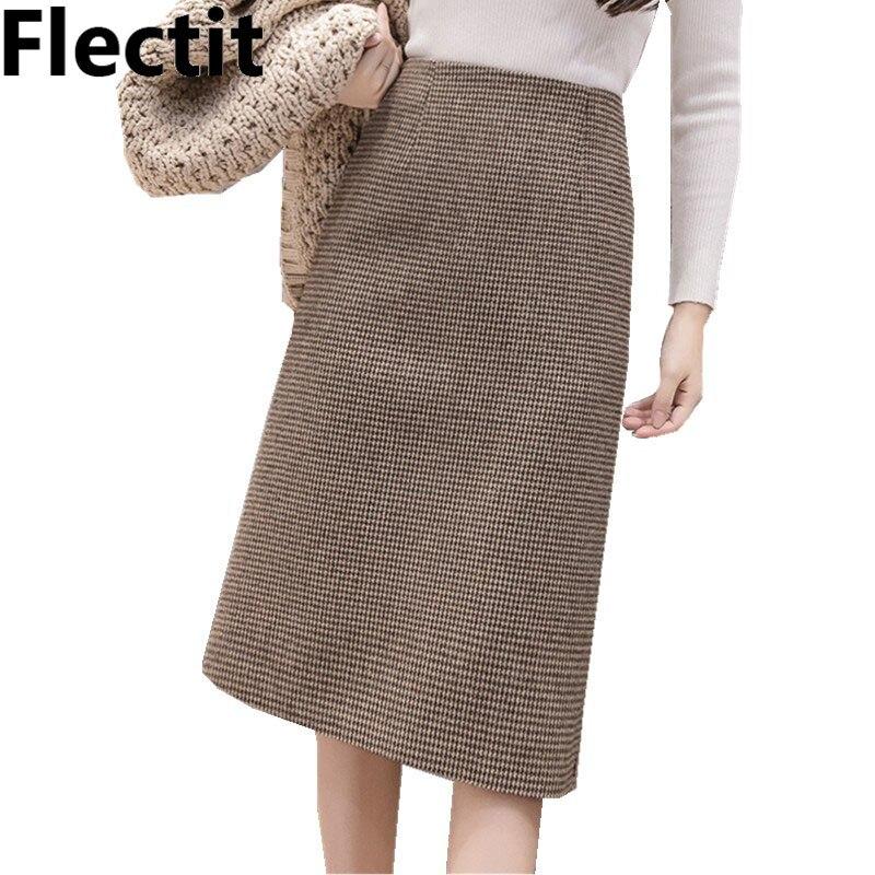 Flectit Fall Winter Warm Wool Houndstooth High Waist Pencil Midi Skirt Slim Knee Length Back Split Work Skirt Plus Size S- XXL