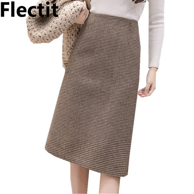 Flectit Fall Winter Warm Wool Houndstooth High Waist Pencil Midi Skirt Slim Knee Length Back Split Work Skirt Plus Size S  XXL