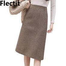 Flectit סתיו חורף חם צמר משבצות גבוהה מותן עיפרון Midi חצאית Slim הברך אורך חזרה פיצול עבודת חצאית בתוספת גודל S  XXL