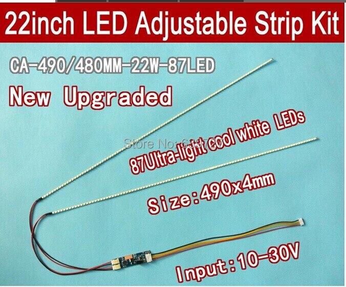 NEW 5PCS 22'' W 490mm Adjustable Brightness Led Backlight Strip Kit,Update 22inch-wide LCD CCFL Panel   LED Backlight