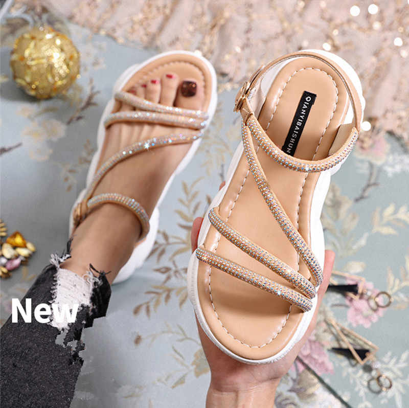 Summer New Women's Sandals Wild Tide Casual Shoes Female Summer Beach Shoes Flat Shoes Student Sandals Sandals Slippers Shoes