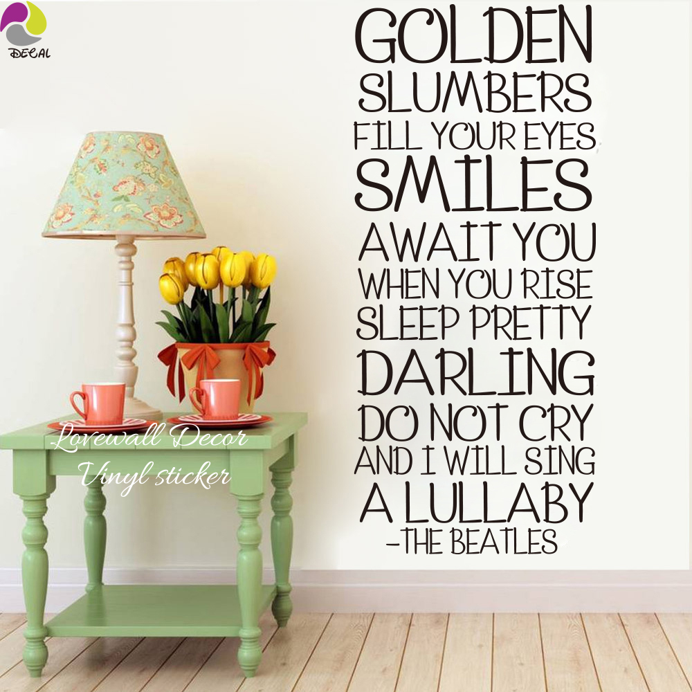 The Beatles Song Lyrics Wall Sticker Bedroom Room Golden Slumber Inspiration Decal Living Kid Vinyl Decor