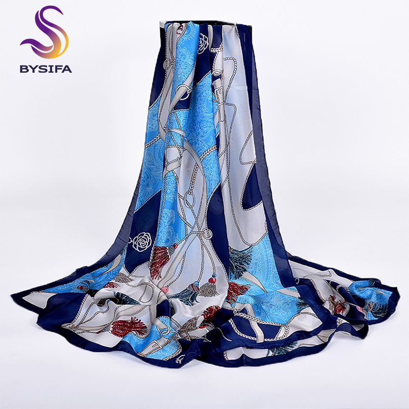 [BYSIFA] Winter Navy Blue Silk   Scarf   Shawl   Wraps   2019 Women Brand 100% Silk Imitation Long   Scarf   Spring Autumn Foulard 180*90cm