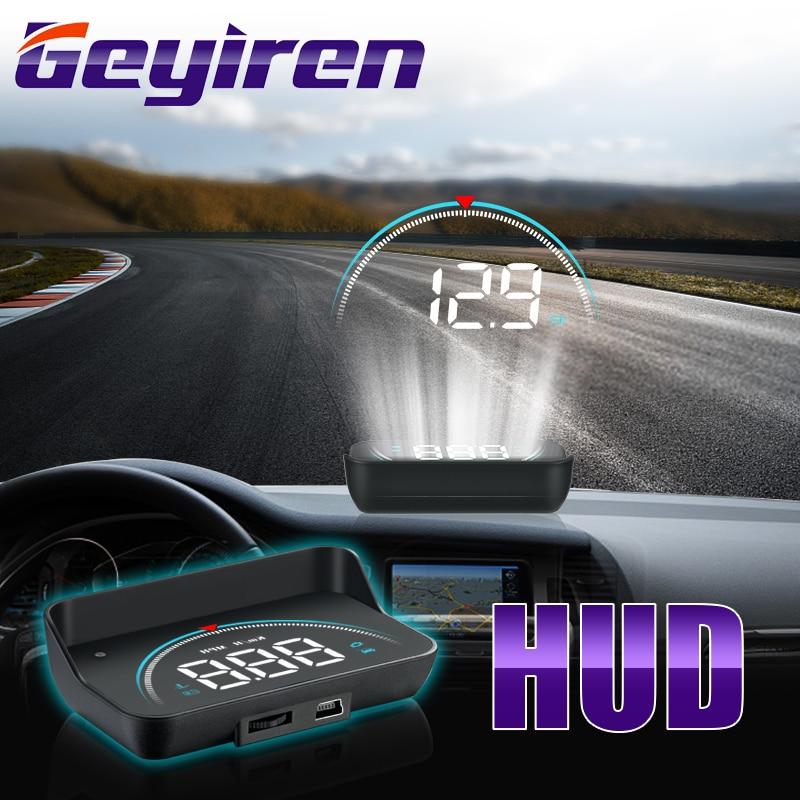 GEYIREN New M8 Head Up Display LED Display HUD OBD II Car Speed Alarm Car Electronics Projector Speedometer Windshield 2019