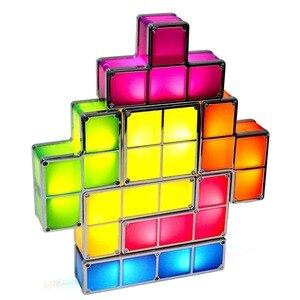 Image 2 - Светильник головоломка для тетрис «сделай сам», светодиодсветодиодный настольная лампа в стиле ретро, строительный блок, ночсветильник, игровая башня, красочная детская игрушка конструктор, 7 цветов