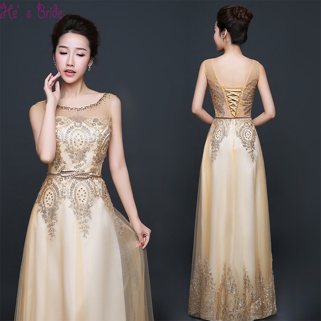 3392b1eb02614 Cheap Customized Plus Size Gold Evening Dresses with Sequins Floor-length  Sleeveless Party Prom Dress 2017 Formal Robe De Soiree